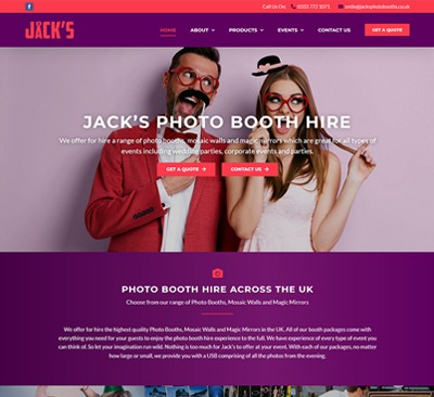 Web Design for Jacks Photo Booth Hull