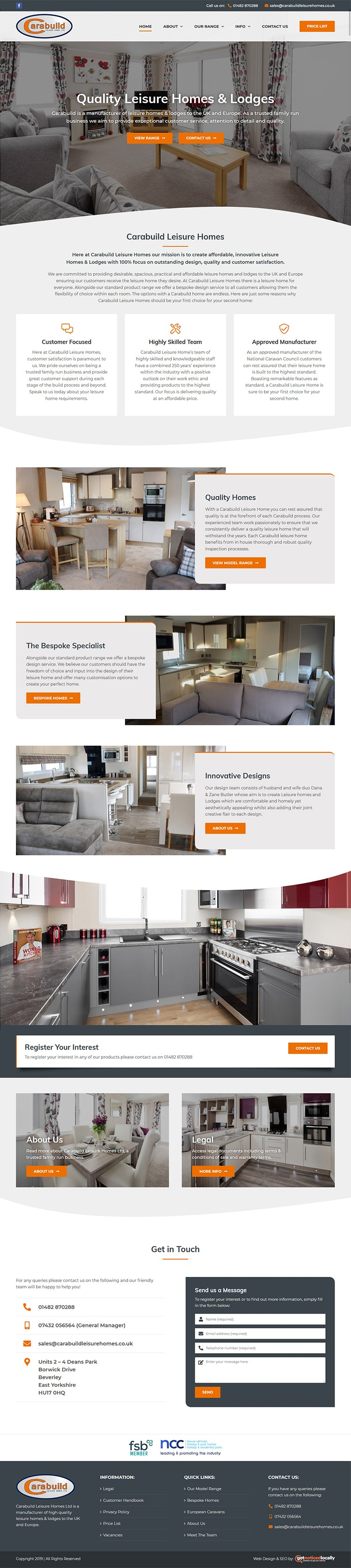 Web Design for Carabuild Leisure Homes