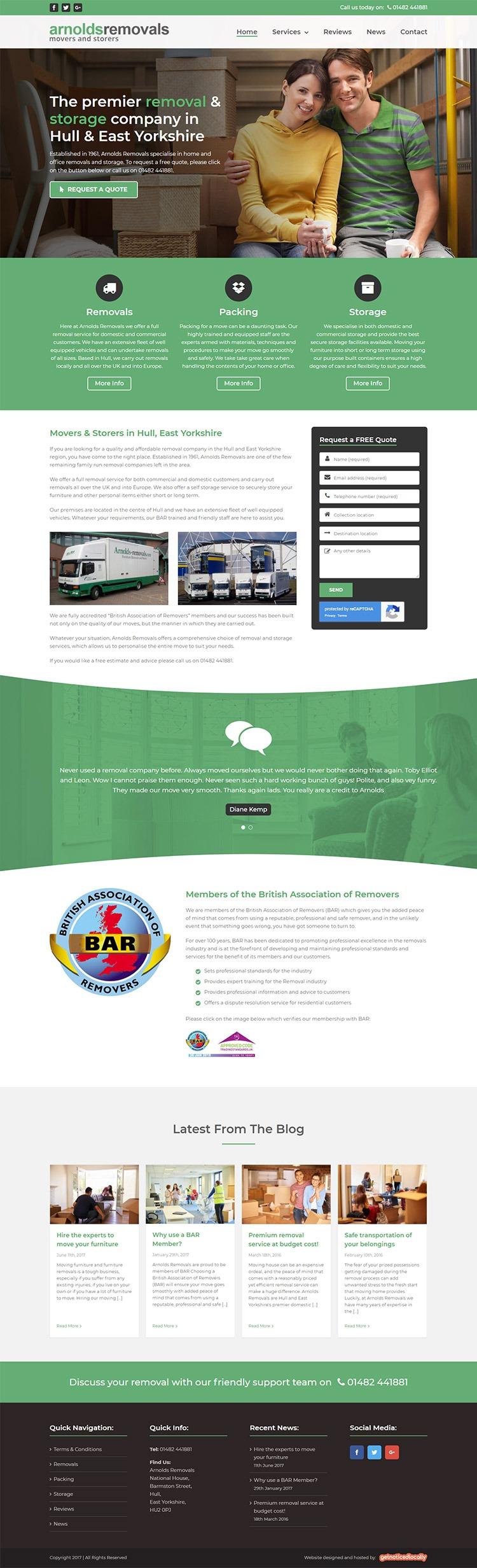Arnolds Removals website