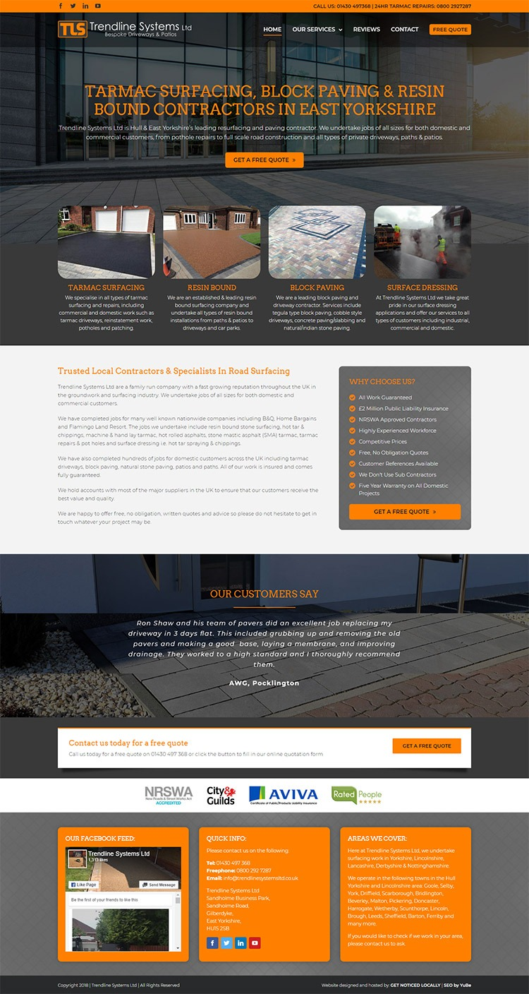 Trendline Systems website layout
