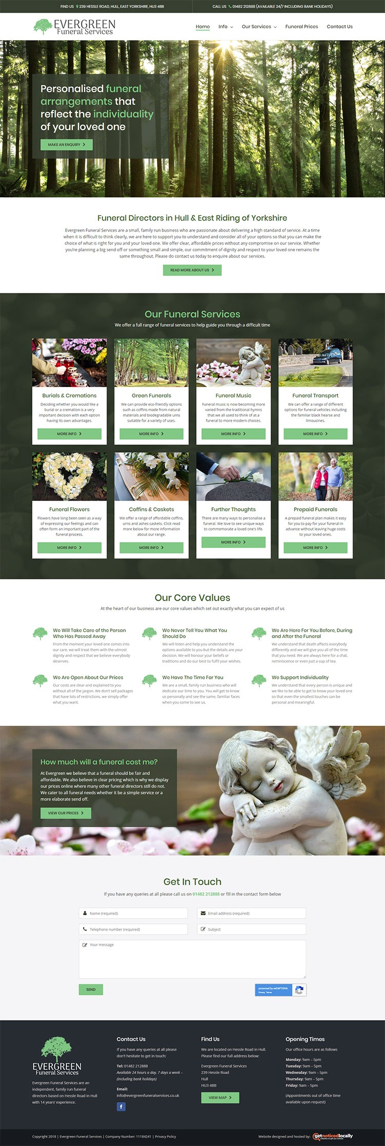 Evergreen Funeral services website layout Hull