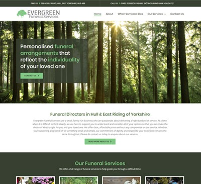 Evergreen Funeral Services web design Hull