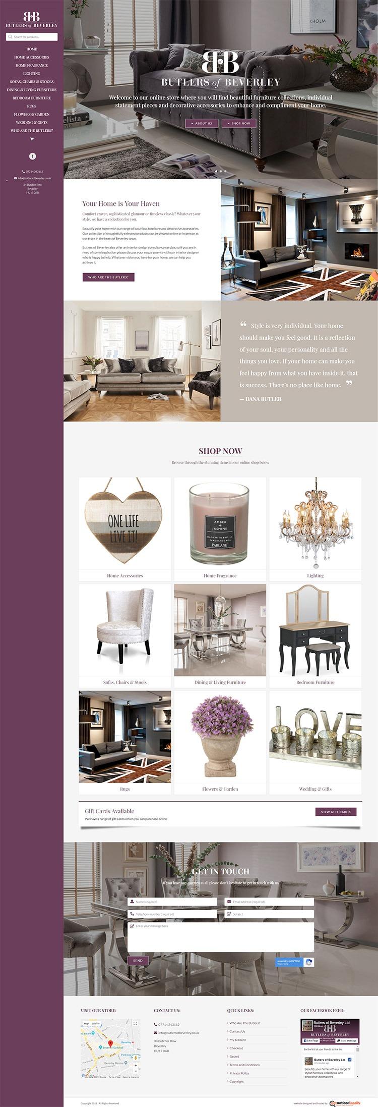 Butlers of Beverley website layout