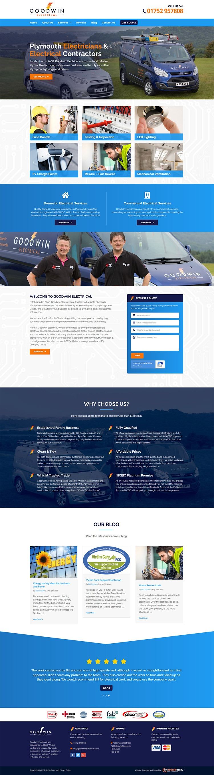 Goodwin Electrical website layout