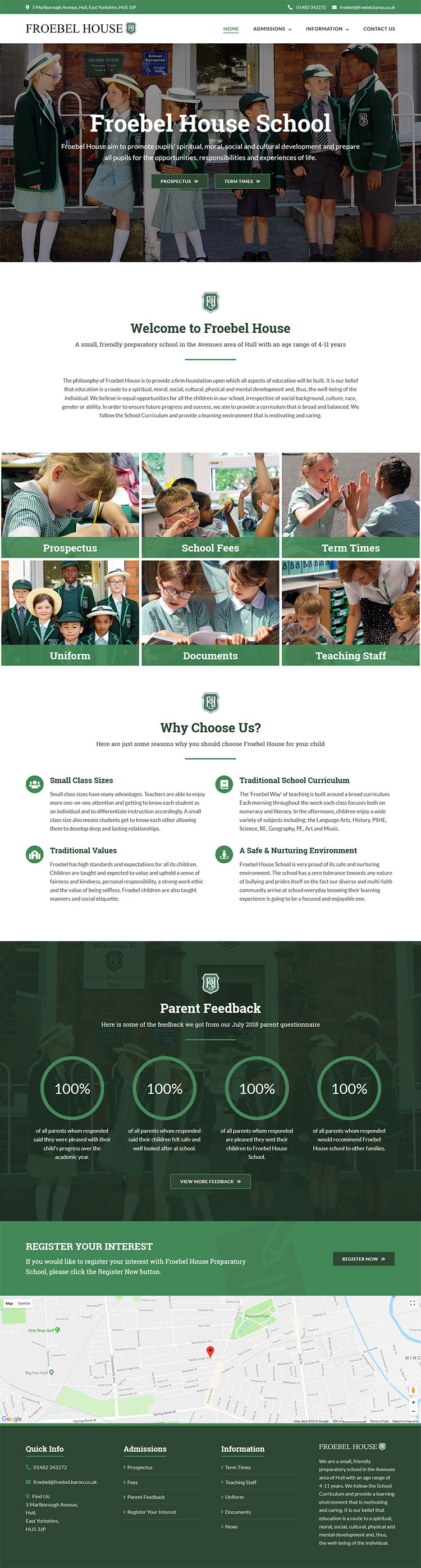 Froebel House website layout