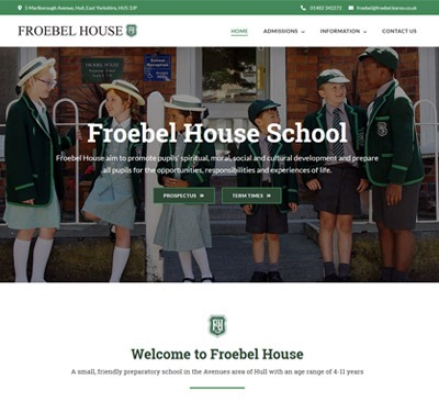 Froebel House Hull web design