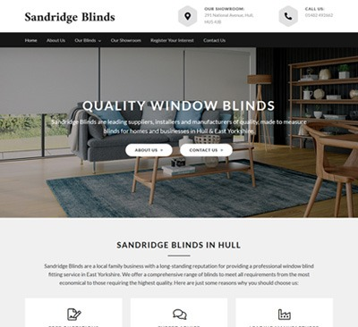 Sandridge Blinds Hull Web Design