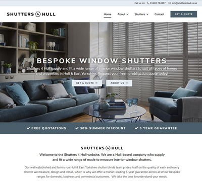 Web Design for Shutters 4 Hull