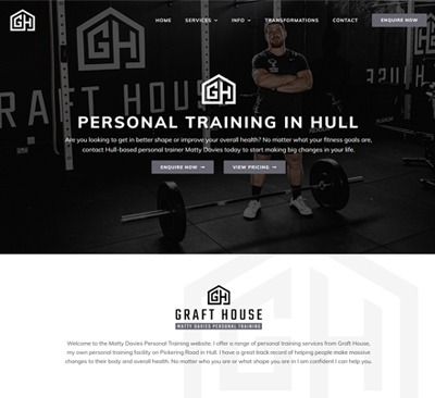 Web Design for Matty Davies Personal Trainer Hull