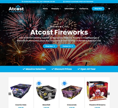 E-commerce Web Design for Atcost Fireworks Hull