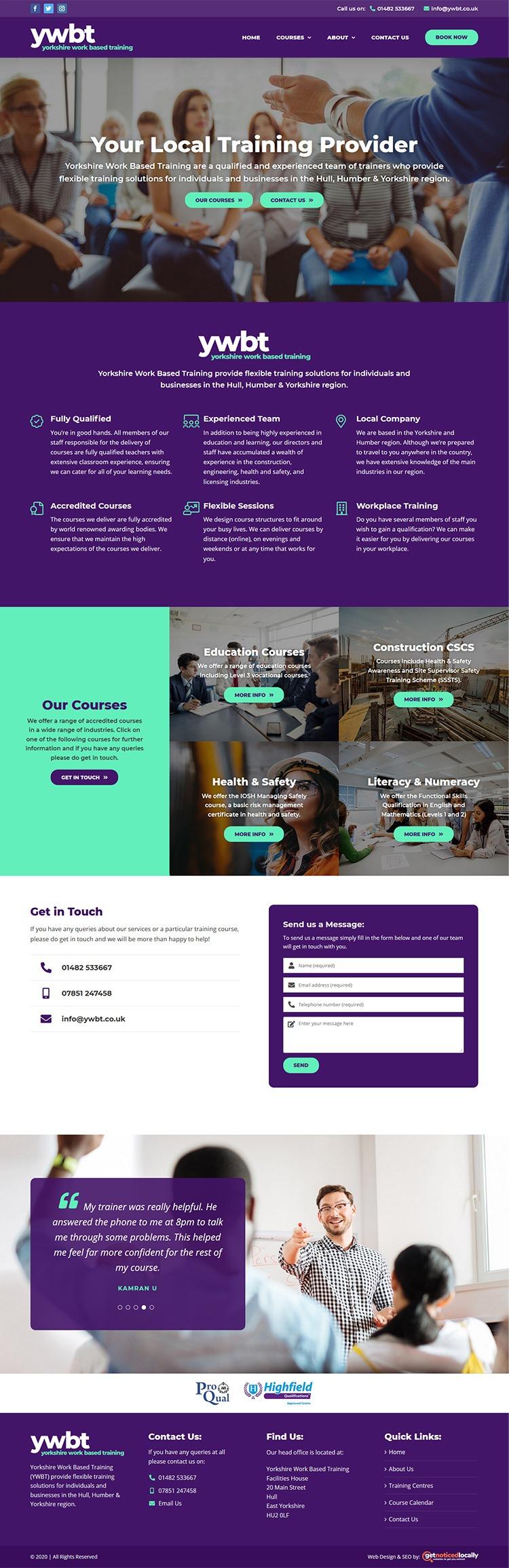 Web Design for Yorkshire Work Based Training