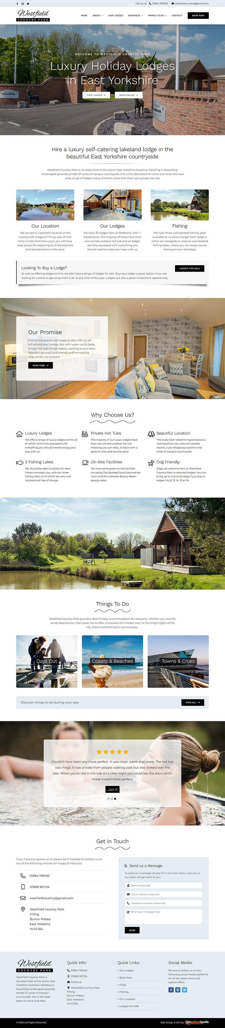 Web Design for Wesfield Country Park East Yorkshire
