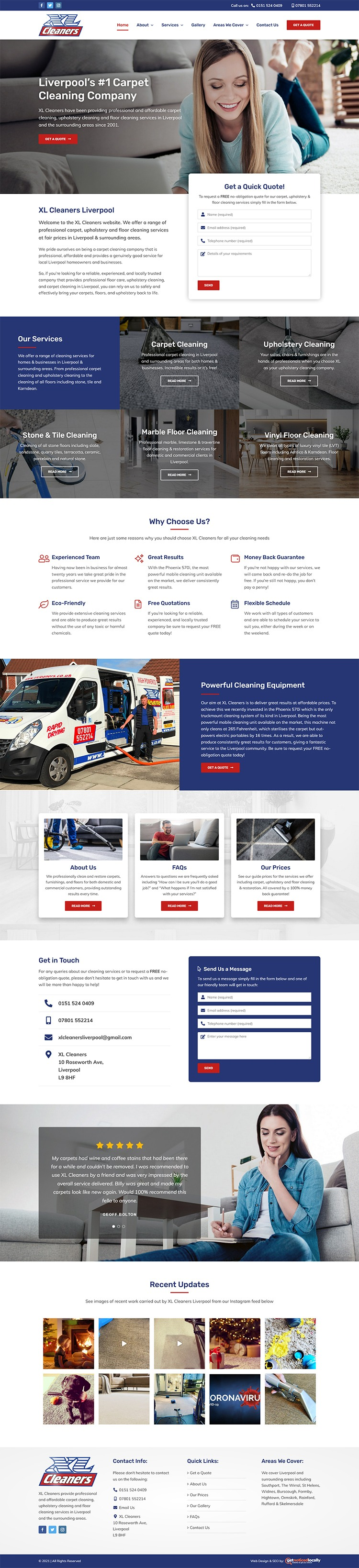 Web Design for XL Cleaners
