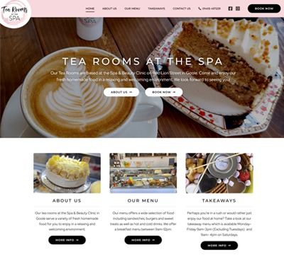 Web Design for Tea Rooms at The Spa