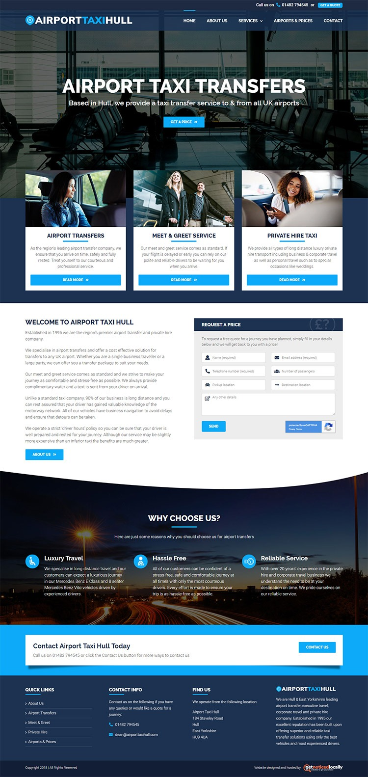 Airport Taxi Hull website layout