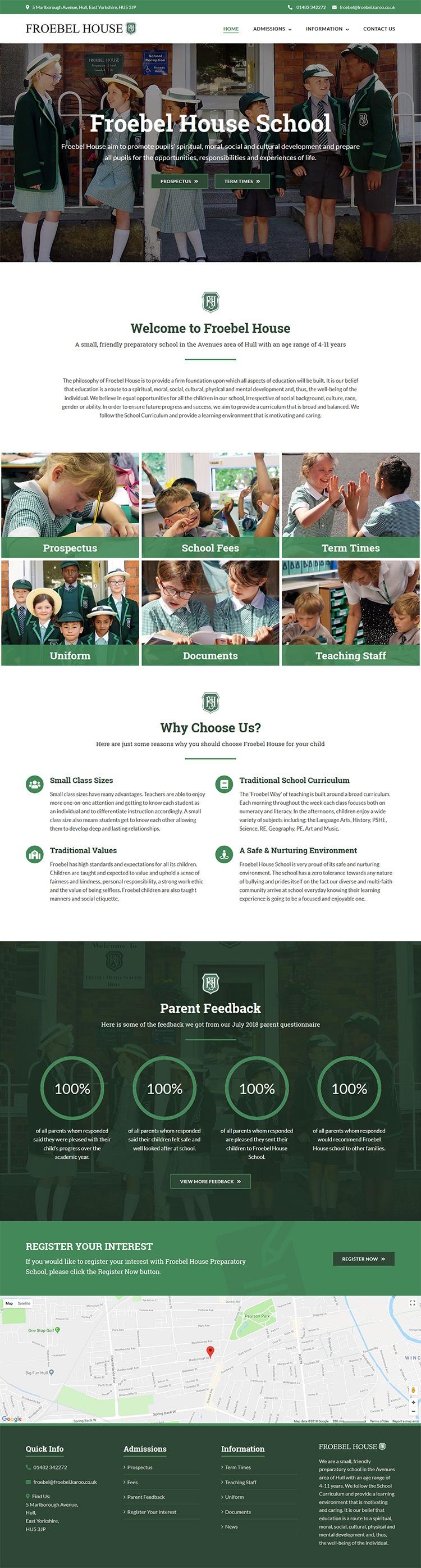 Froebel House website layout